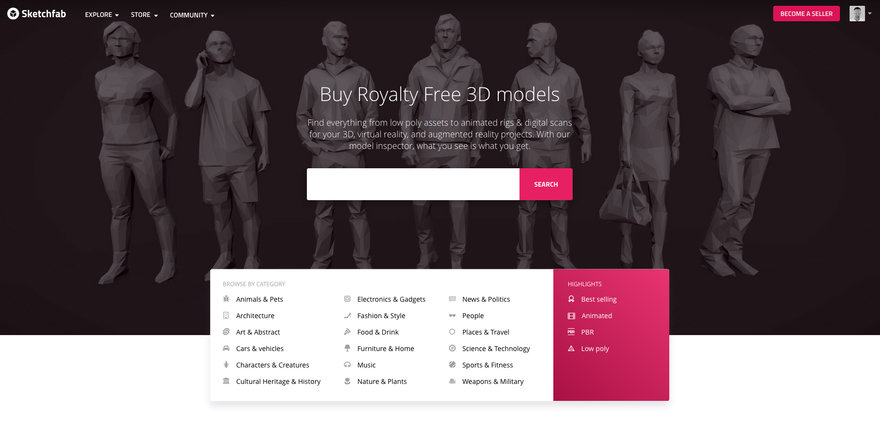 Sketchfab Launches Online Store for 3D Models that Allows Full