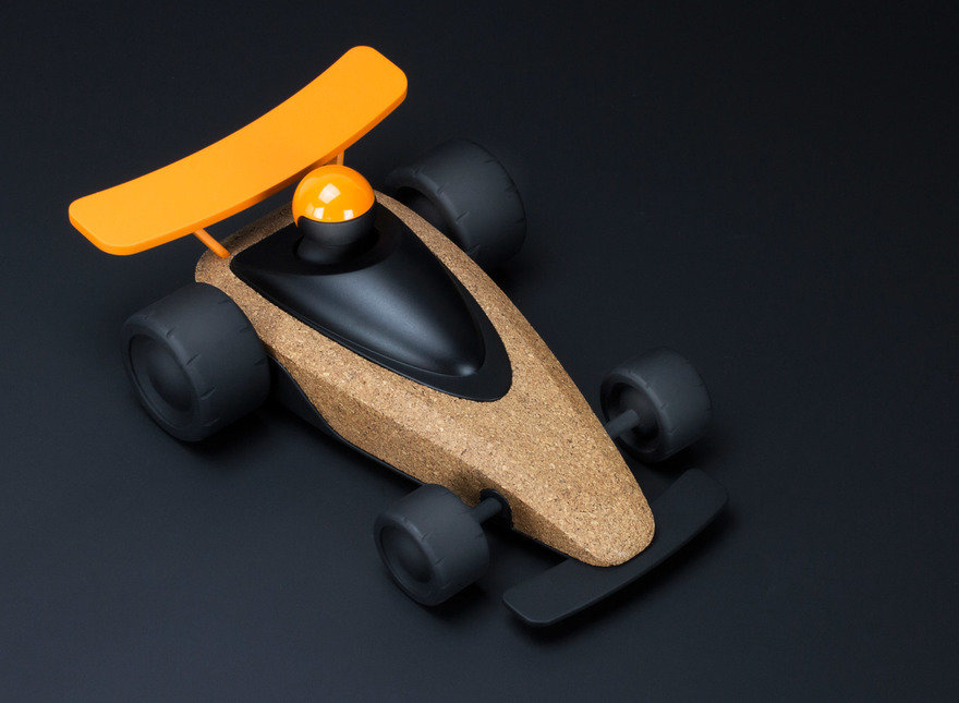 Cork and plastic toy race car