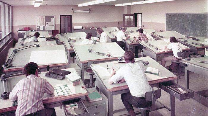 Shots of Old-School Pre-CAD Drafting Pools