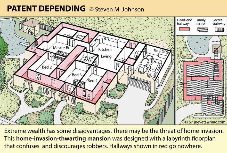 Steven M. Johnson s Bizarre Invention #157: Home-Invasion-Thwarting Floorplan