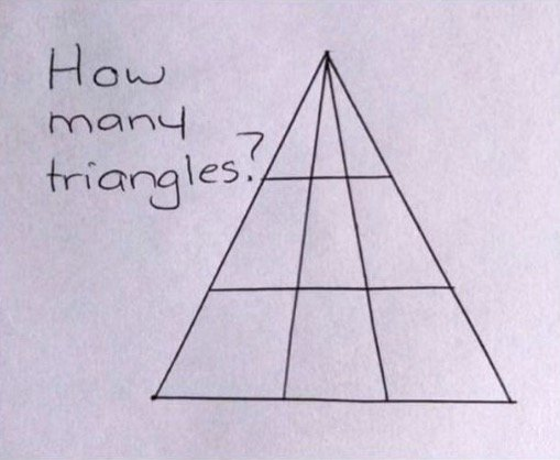 Visual Quiz: How Many Triangles are in This Drawing?