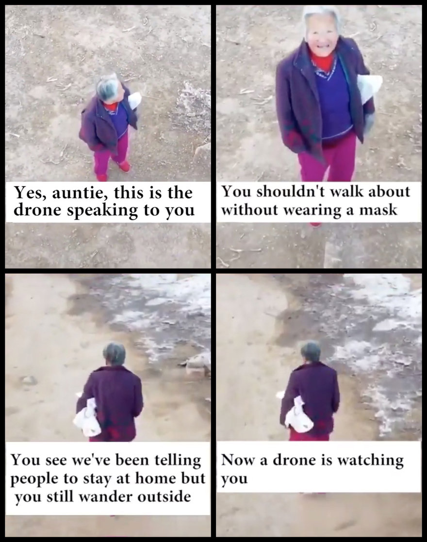 Chinese Government Fighting Coronavirus Using Drones With Speakers to Follow People and Tell Them To Put Masks On