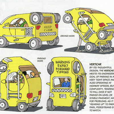 Vertically Parked Cars, Sauna-Equipped Motorcycles and Self-Shortening Coupes: Hilarious Vehicle Concepts by Steven M. Johnson
