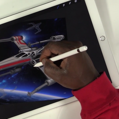 Using an iPad Pro, Apple Pencil and Procreate to Render an X-Wing Fighter