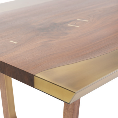 A Table That Seamlessly Blends Walnut and Brass