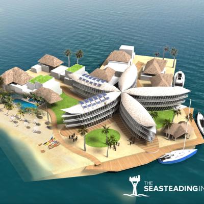 A Hyper Futurist Floating City Moves Forward