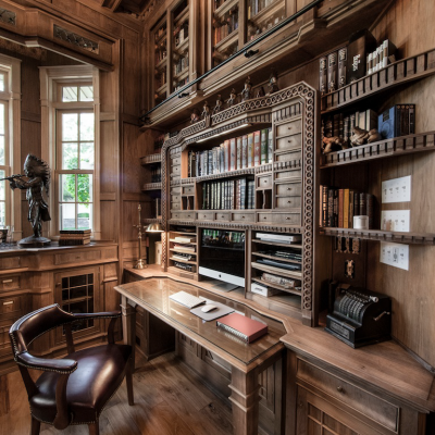 "Jim Cardon's Stunning Custom Built Library, Inspired by ""The Illusionist"""