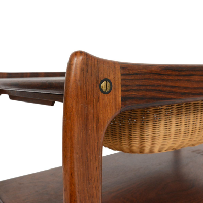 Mid Century Modern Find of the Week: Brazilian Rosewood Sewing Cart with Wicker Basket