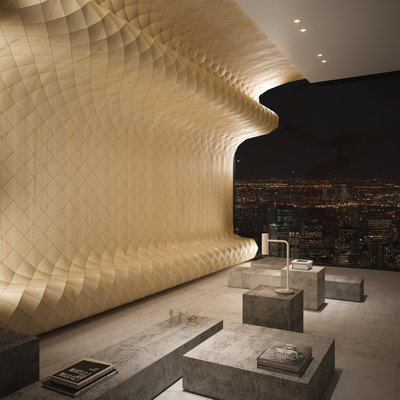 "Tesler + Mendelovitch Apply Their Sculptural ""Wood Skin"" to Interiors"