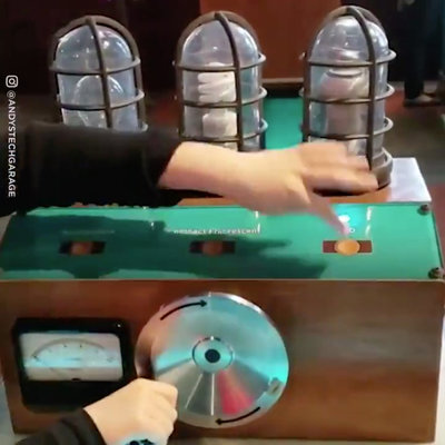 Brilliant Hand-Cranked Museum Display Demonstrating How LED Bulbs Use Way Less Power