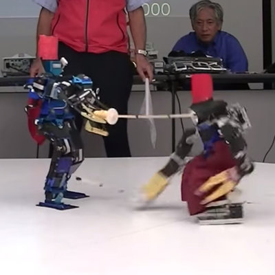 Robots Fighting With Swords, Playing Soccer and Doing Pro Wrestling Moves on Each Other