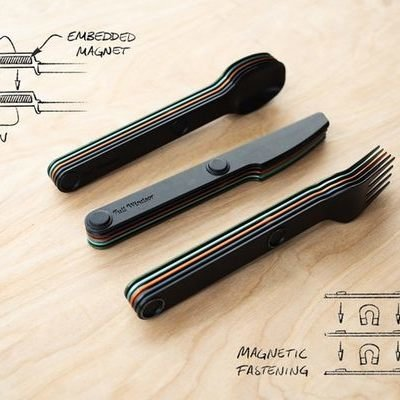 Portable, Lightweight, Magnetic Cutlery as an Alternative to Using Plastic Utensils