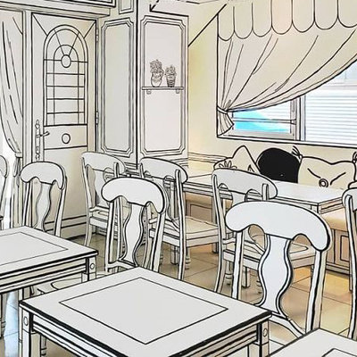 A Sketchy Café Trend: Interiors Designed to Look Like They're 2D Line Drawings