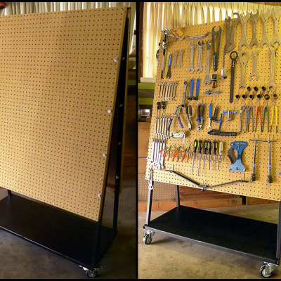 DIY Rolling Pegboard Tool Storage