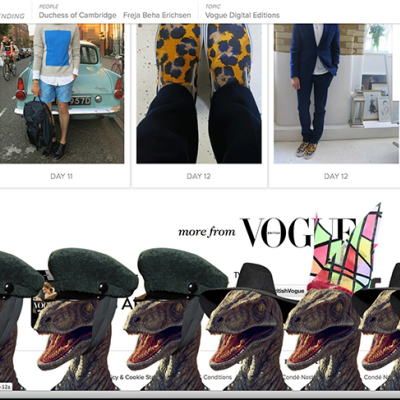 Thanks to Hacker, Vogue UK's New Fashion Rage: Dinosaurs in Hats