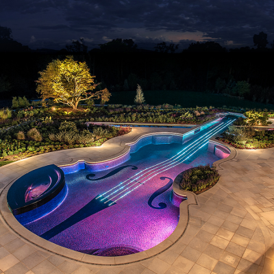 How the Other Half Swims: In a $1 Million Stradivarius-Shaped Swimming Pool