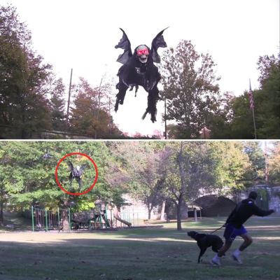 Man Scares the Living Crap out of Parkgoers by Chasing Them with Grim Reaper Costume Hooked Up to Drone