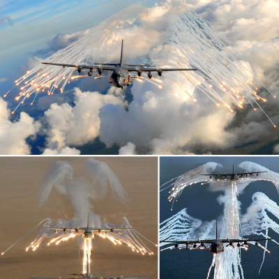 Stunning Footage of AC-130s Deploying Flares