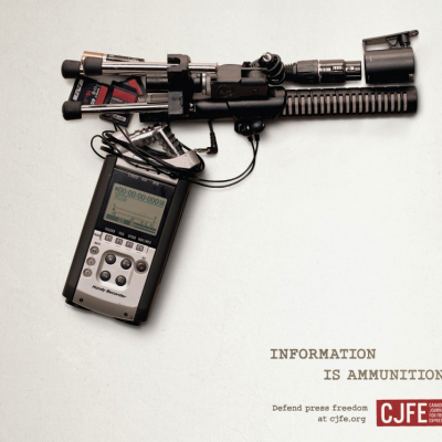 "Shooting Photos, Not Bullets: CJFE's ""Info is Ammo"" Campaign Spawns Homages"