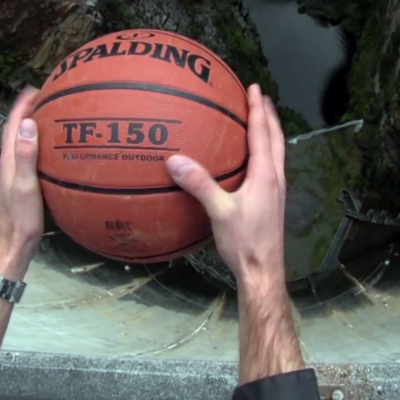 Guy Throws Basketball Off of Dam to Demonstrate Crazy Effect of Backspin