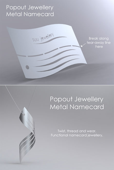 1 hour design challenge winners business card hacks core77 popout jewellery metal namecard designed by reheart Choice Image