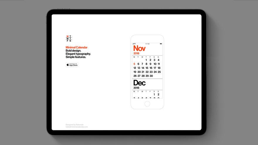Minimal Calendar Imagines a Simpler Mobile Calendar